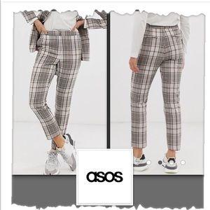 Asos Ivory Plaid Pants
